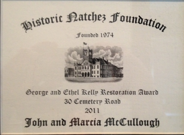 Historic Natchez Foundation Award